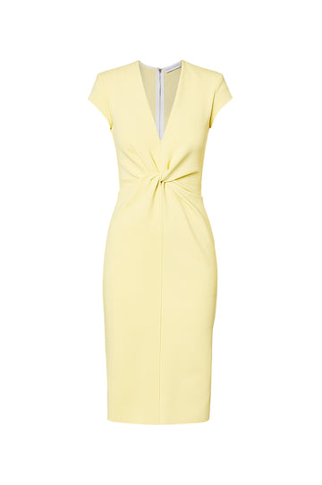 MILANO CREPE TURBAN DRESS, LEMON color