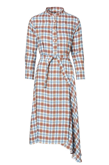 CHECK SHIRT DRESS, BLUE color
