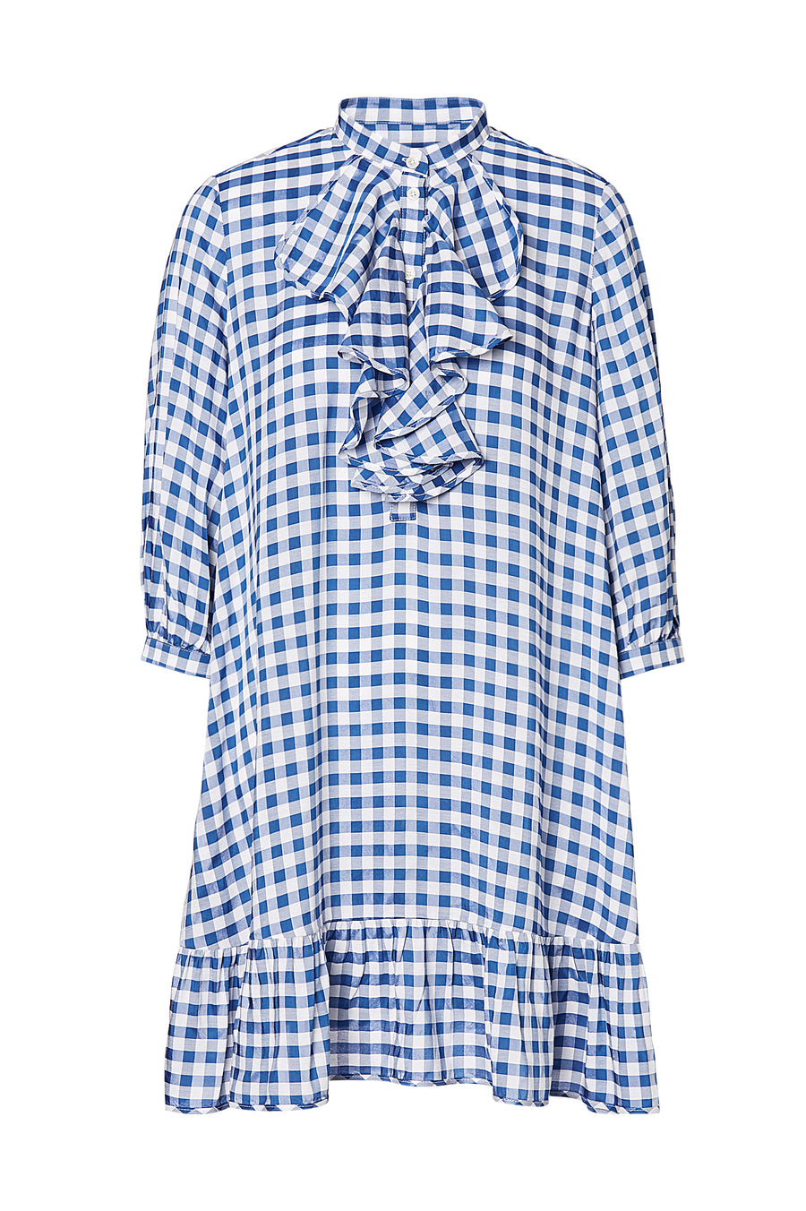 GINGHAM RUFFLE DRESS, BLUE color