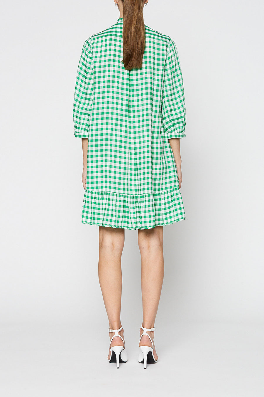 GINGHAM RUFFLE DRESS, EMERALD color