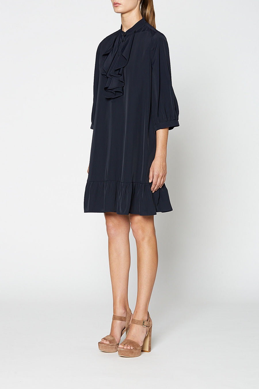 POWDERED VISCOSE RUFFLE DRESS