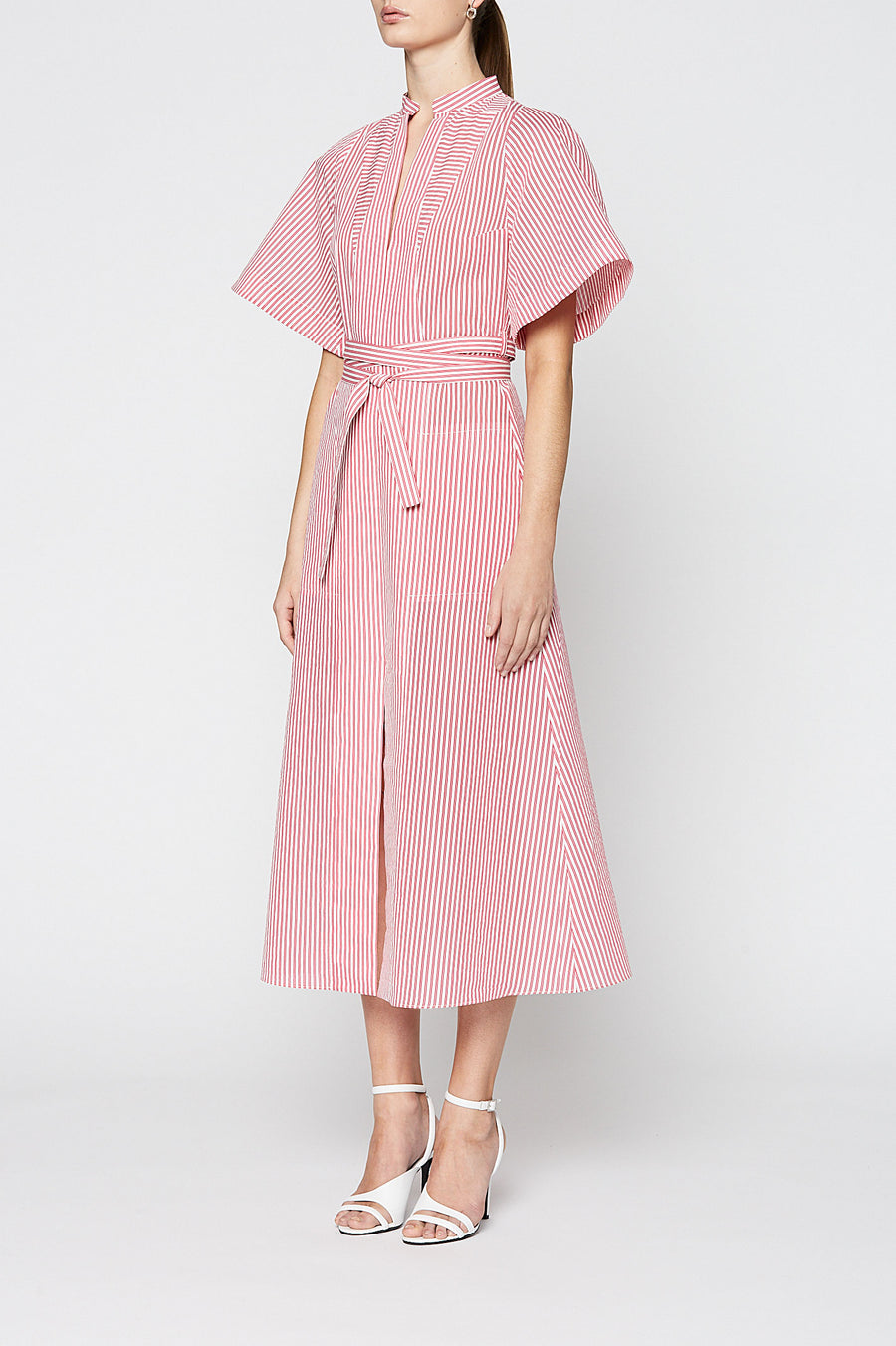 STRIPED COTTON DRESS, PINK color