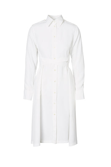 POWDERED VISCOSE SHIRT DRESS, WHITE color