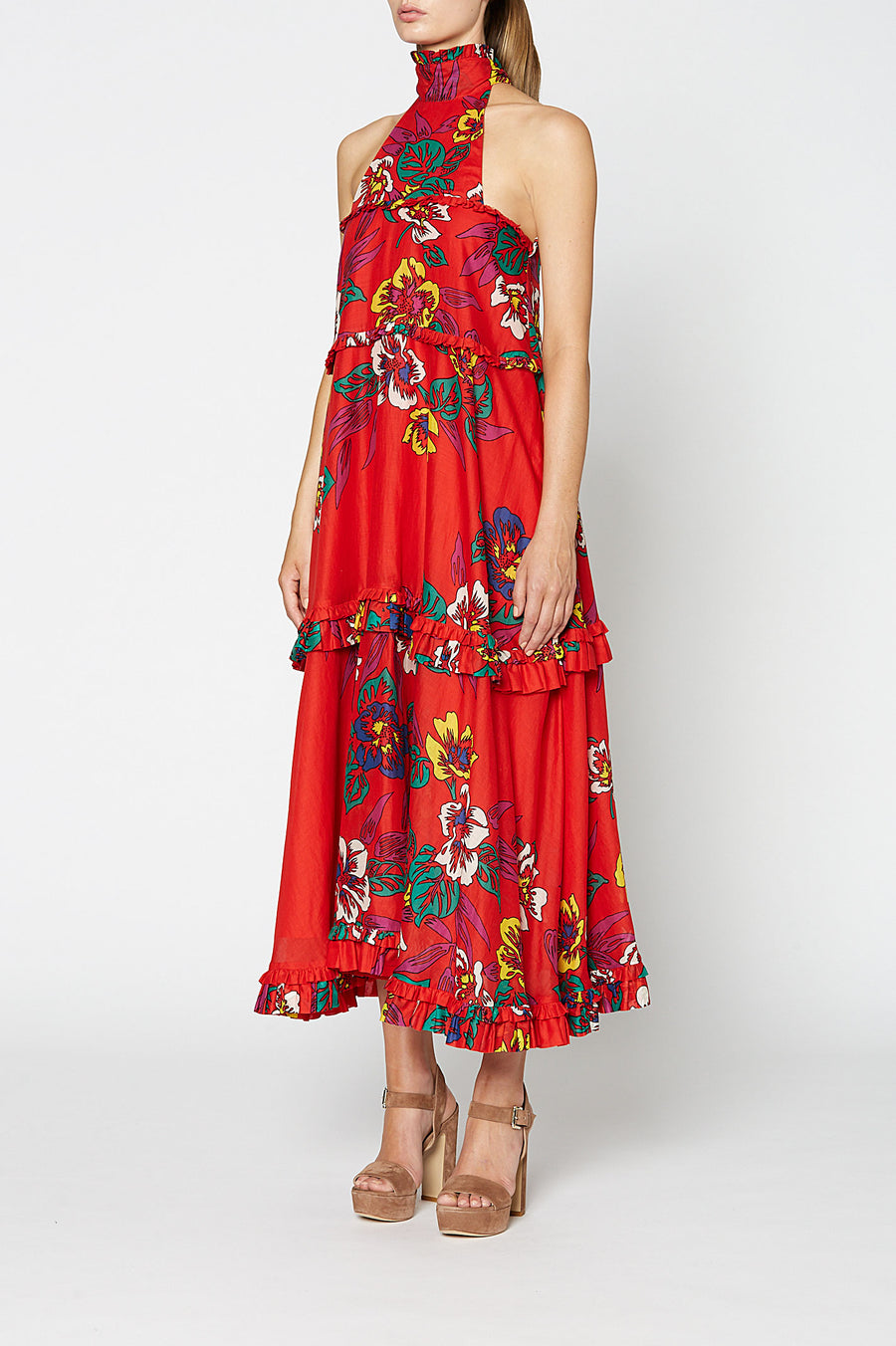 FLORAL VOILE DRESS RED