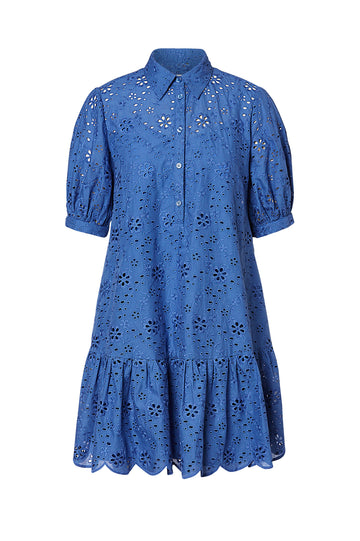 EMBROIDERED DRESS, BLUE color