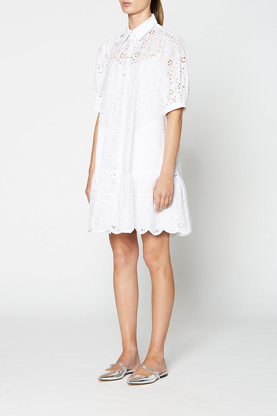 EMBROIDERED DRESS WHITE, WHITE color
