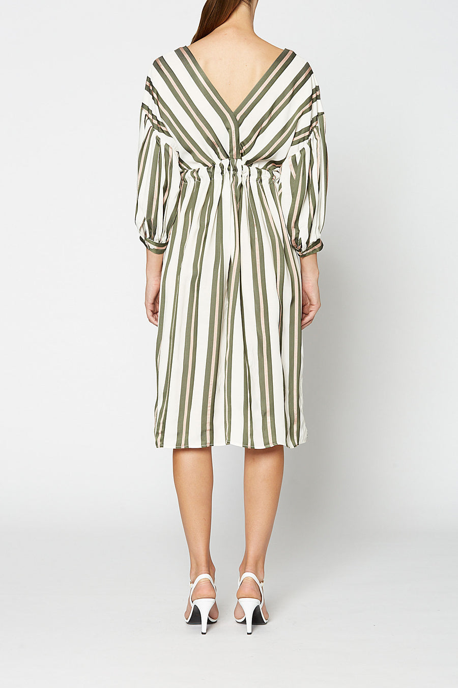 STRIPE VISCOSE DRESS, KHAKI color