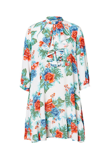 CDC MYSTIC FLORAL RUFFLE DRESS BLUE, BLUE color