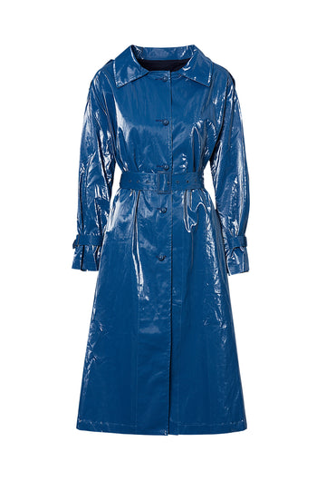 GLOSSY TRENCH, BLUE color