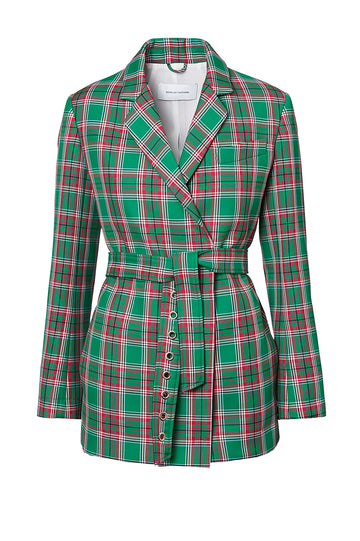 PLAID EYELET BELT JACKET