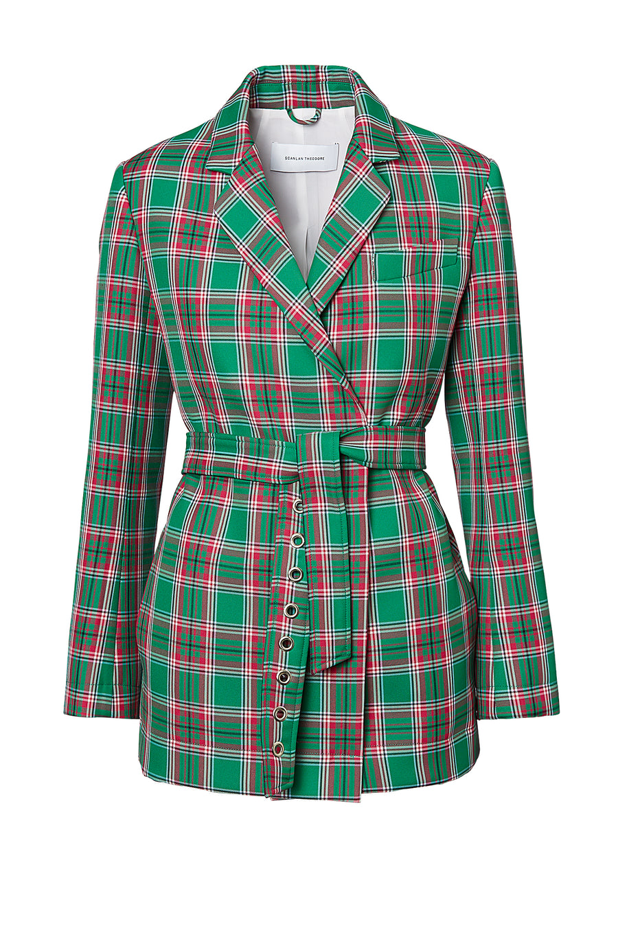 PLAID EYELET BELT JACKET, GREEN color
