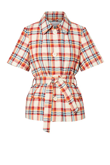 MADRAS CHECK TRENCH JACKET, RED MARINE color