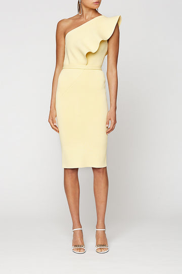CREPE KNIT RUFFLE DRESS, LEMON color