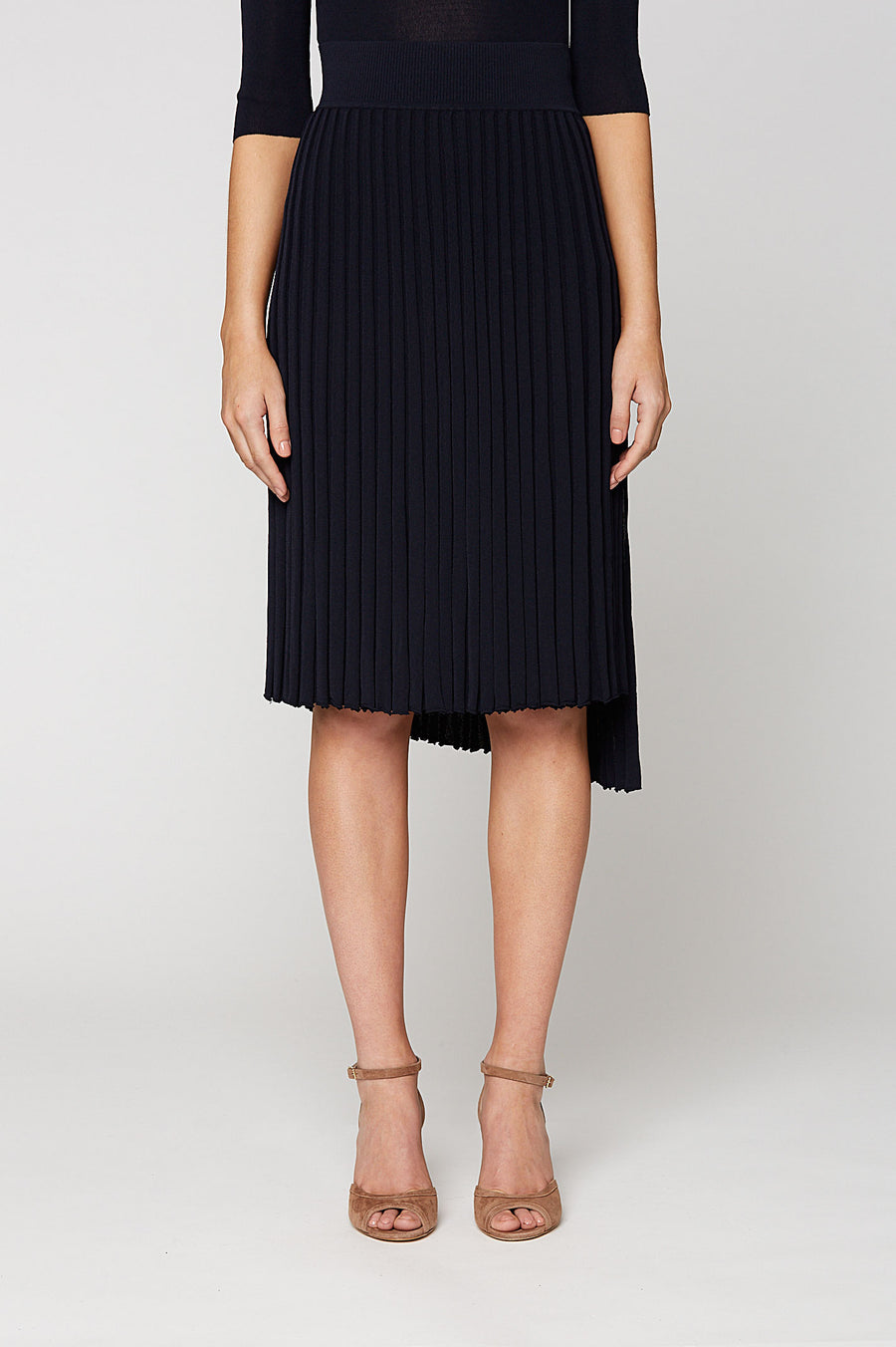 PLEATED RIB WRAP SKIRT 16, NAVY color