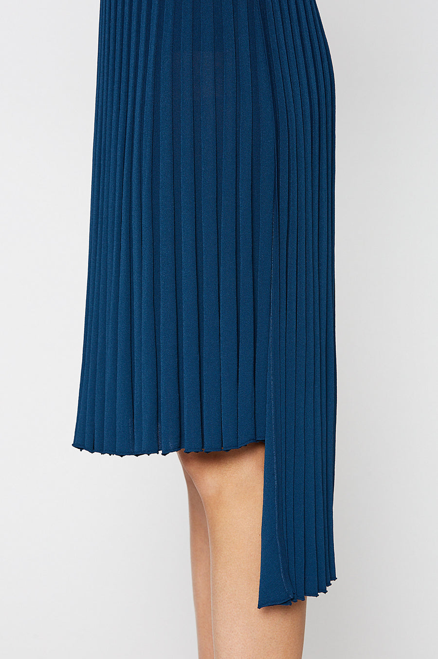 PLEATED RIB WRAP SKIRT 16, TEAL color
