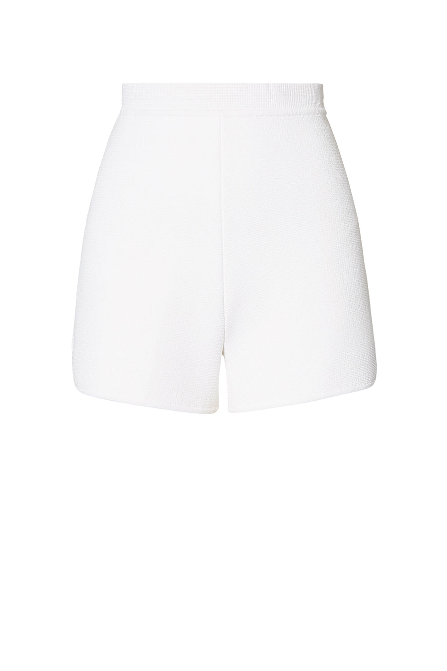 Crepe Knit shorts, high waisted, fitted short, mid thigh, Color White