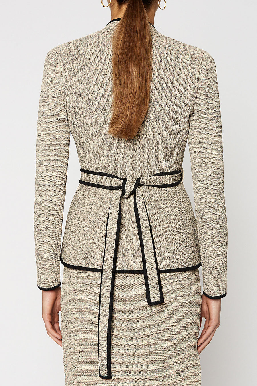 CREPE KNIT TWEED WRAP JACKET