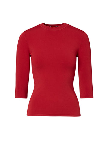 ANGEL CREW NECK SWEATER 18, 3/4 Sleeve Length, Crew Neck, Color Red