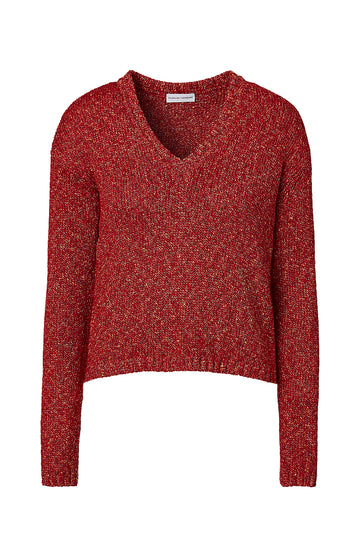 COOKIE V-NECK SWEATER 3, RED color