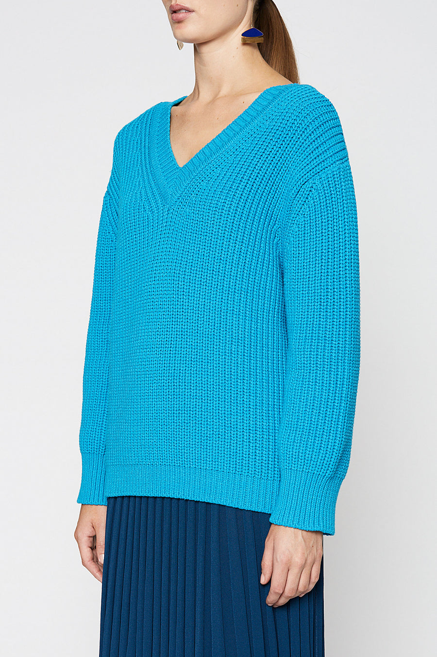 KISS DOUBLE V NECK SWEATER 3, long sleeve, Turquoise