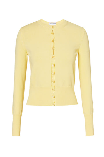 CREPE KNIT CARDIGAN, LEMON color