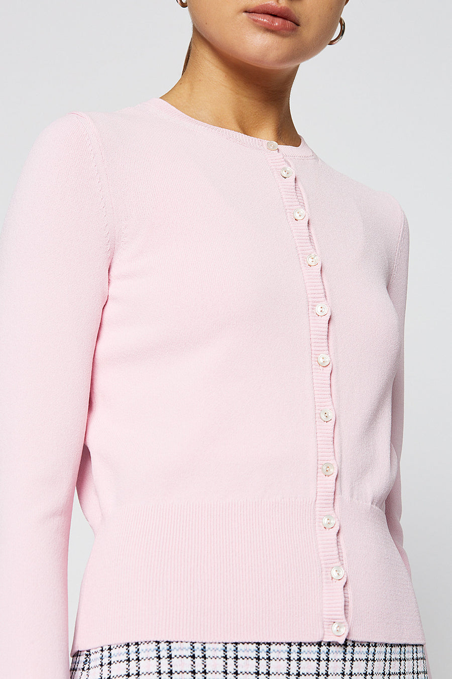 CREPE KNIT CARDIGAN, PALE PINK color