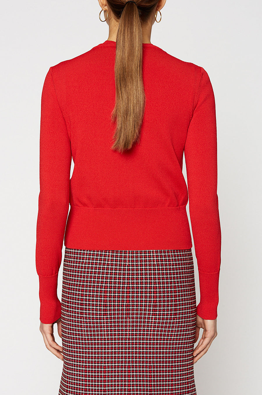CREPE KNIT CARDIGAN, RED color