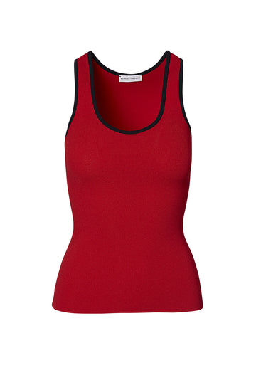 Crepe Knit Singlet, round scoop neckline, medium shoulder straps, intended to fit close to the body, Color Red