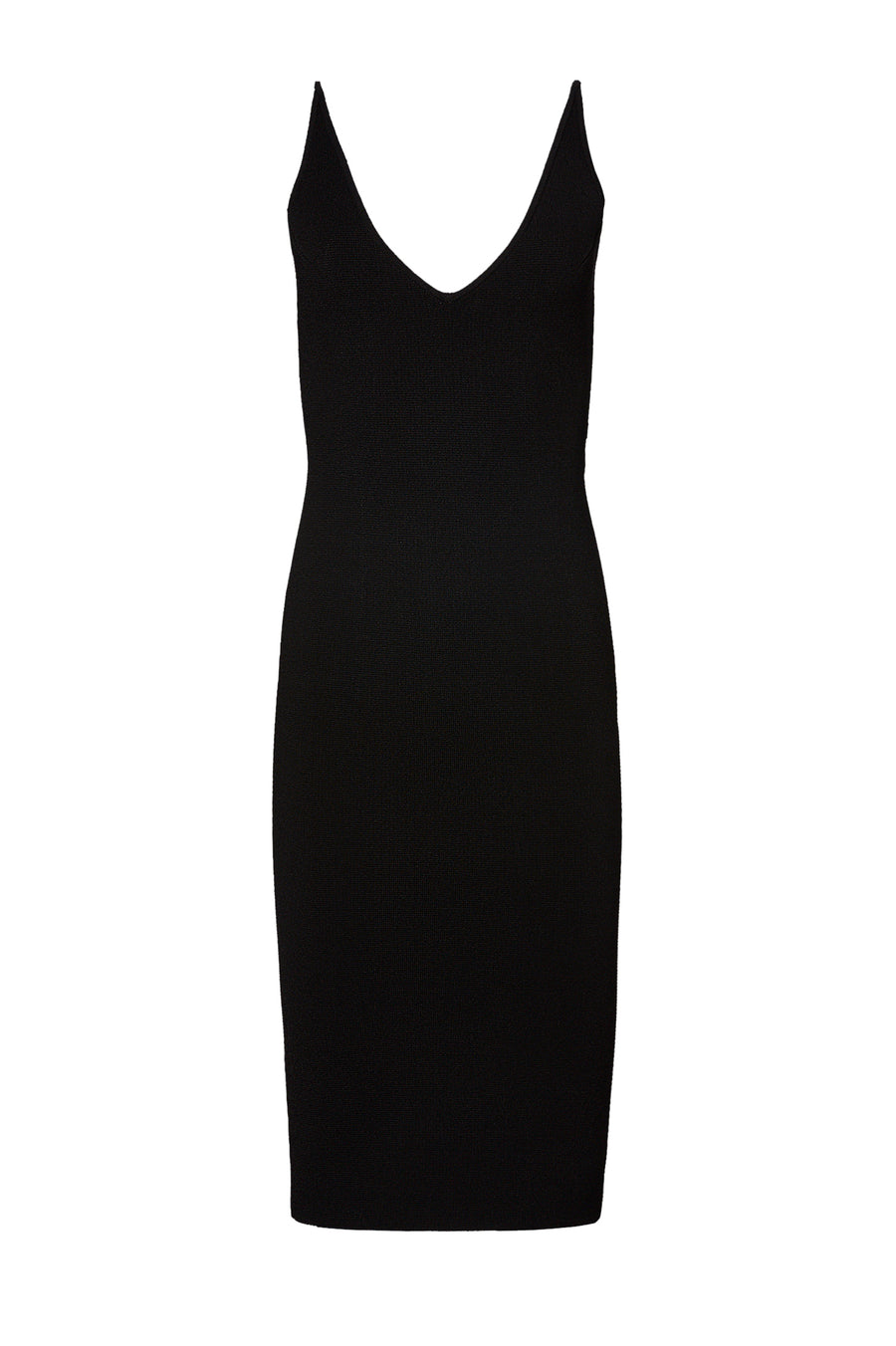 CREPE KNIT STRAPPY DRESS, BLACK color