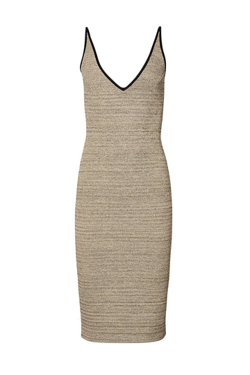 CREPE KNIT TWEED STRAPPY DRESS