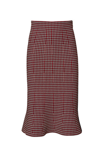 CREPE KNIT PLAID SKIRT