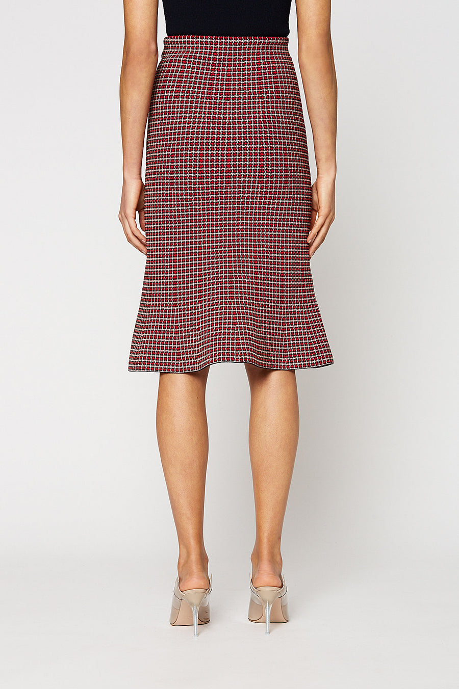 CREPE KNIT PLAID SKIRT, RED color