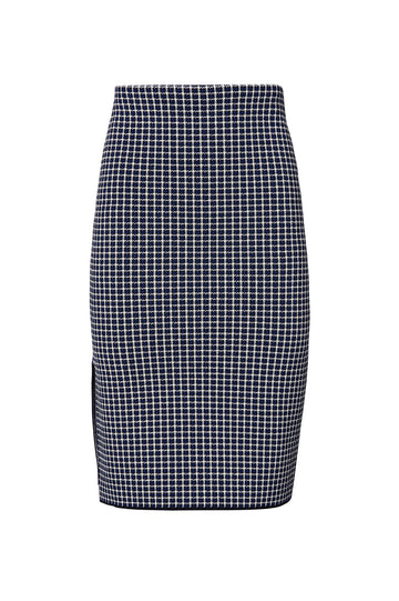CREPE KNIT PLAID VENT SKIRT, NAVY color
