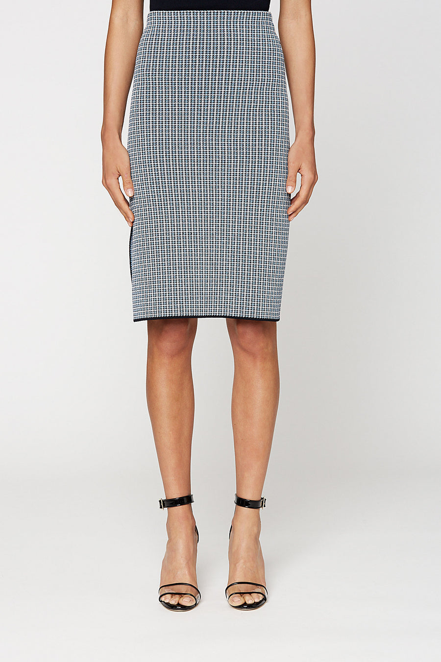 CREPE KNIT PLAID VENT SKIRT, PALE BLUE color