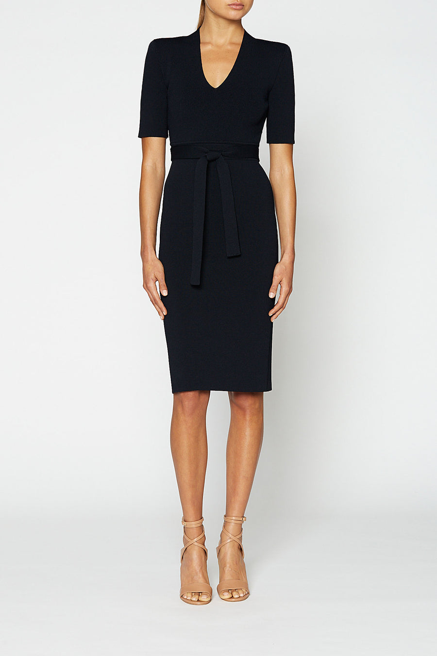 Crepe Knit V Neck Dress, fitted silhouette, waist seam belt, mid length sleeve, key hole V-neckline, falls just below the knee, Color Navy