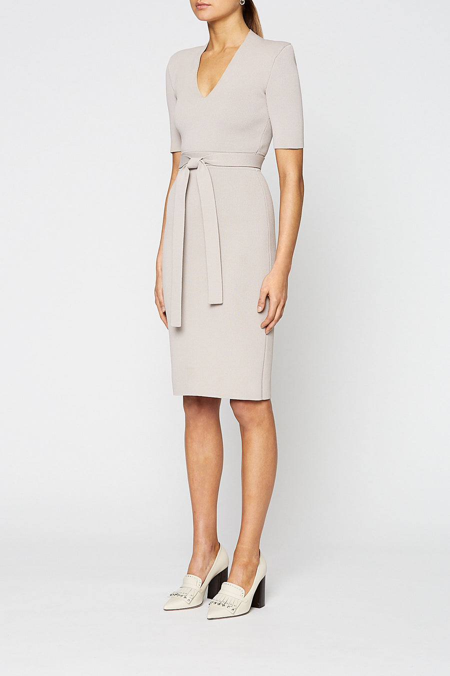Crepe Knit V Neck Dress, fitted silhouette, waist seam belt, mid length sleeve, key hole V-neckline, falls just below the knee, Color Oyster