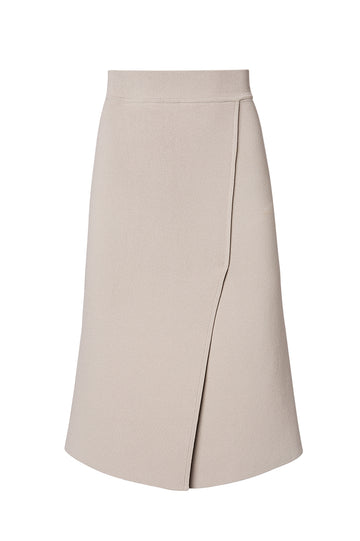 CREPE KNIT WRAP WAIST SKIRT, OYSTER color