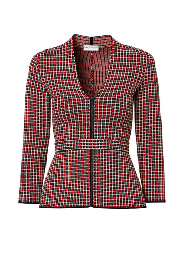 CREPE KNIT PLAID JACKET