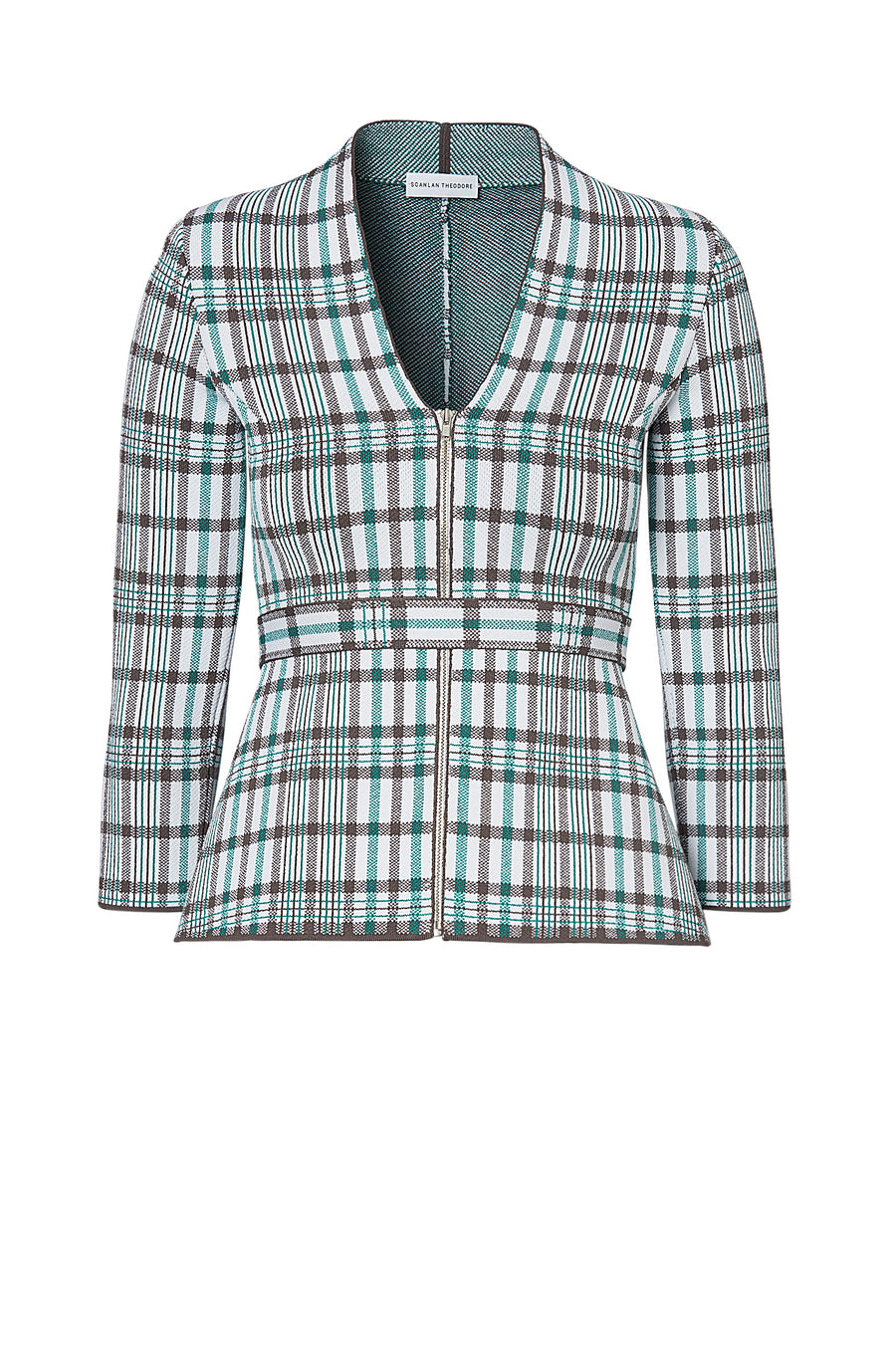 CREPE KNIT PLAID JACKET, TORBA color