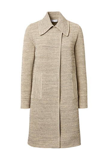 CREPE KNIT TWEED COAT, CONNECTICUT color
