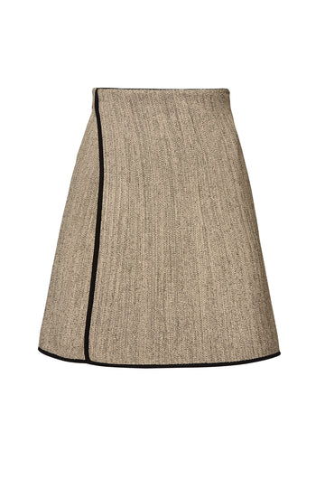 CREPE KNIT TWEED WRAP SKIRT