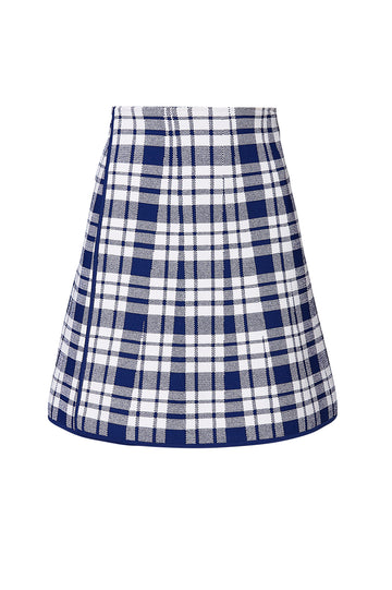 CREPE KNIT CHECK WRAP SKIRT