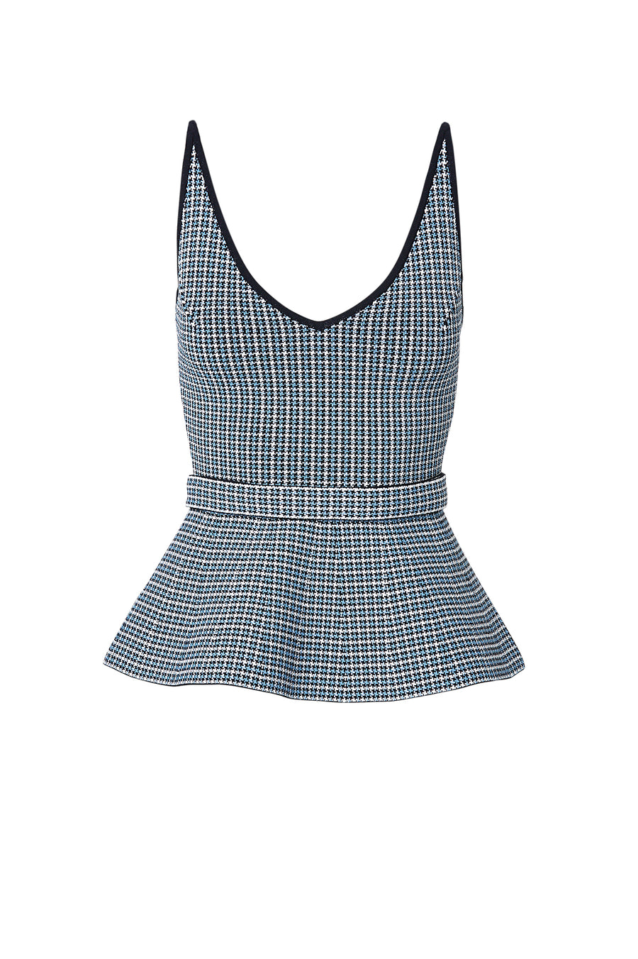 CREPE KNIT PLAID STRAPPY TOP