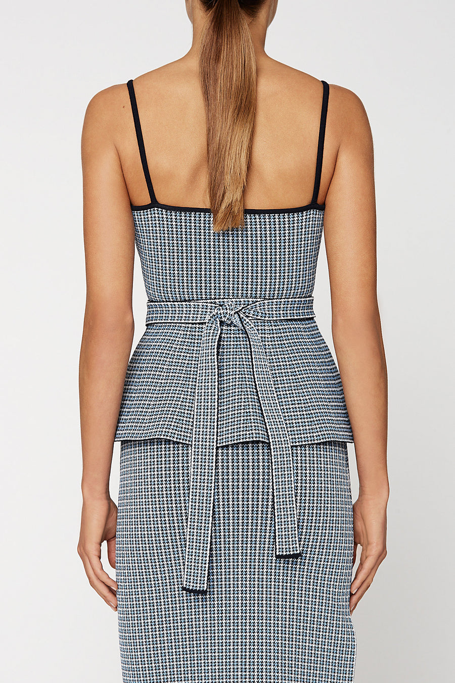 CREPE KNIT PLAID STRAPPY TOP, PALE BLUE color