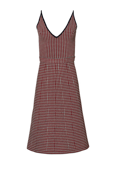 CREPE KNIT PLAID DRESS