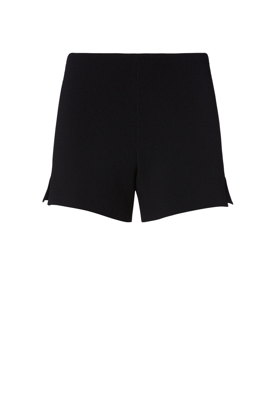 CREPE KNIT VENT SHORT BLACK, BLACK color