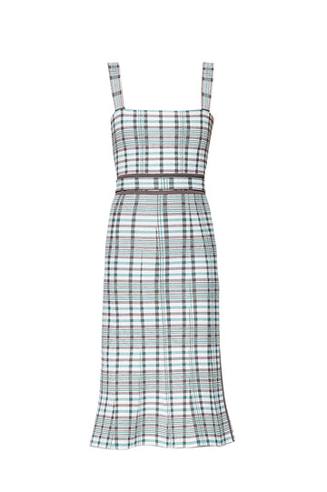 CREPE KNIT PLAID BRALETTE DRESS, TORBA color