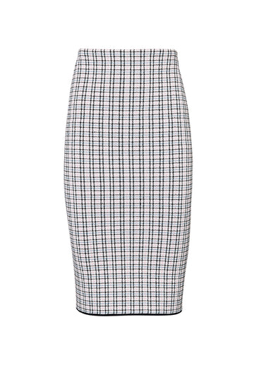 CREPE KNIT PLAID SKIRT, PALE PINK color