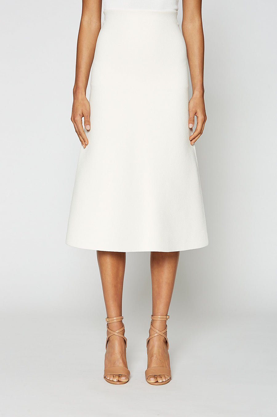 CREPE KNIT A-LINE SKIRT, CREAM Crepe Knit A-Line Skirt, fitted at the waist, A-line body, sits below knee, Color Cream
