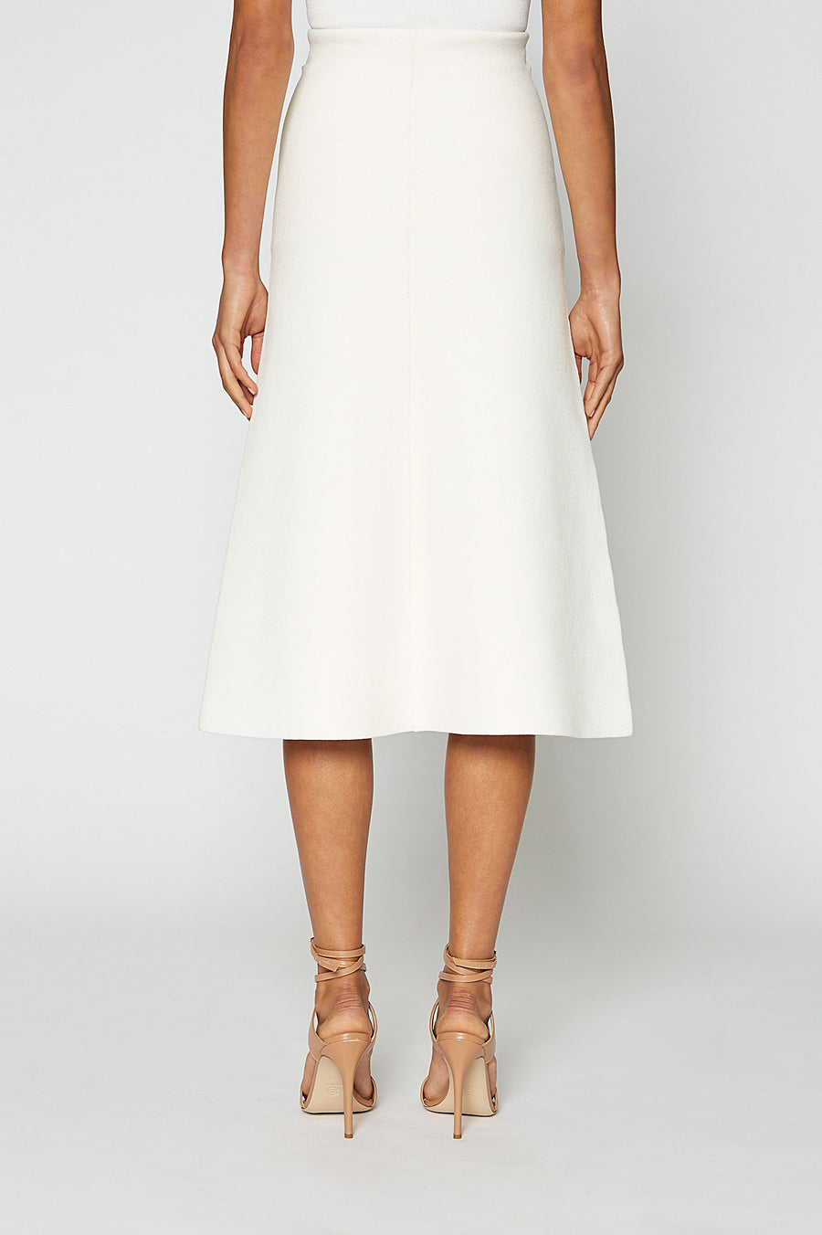 Crepe Knit A-Line Skirt, fitted at the waist, A-line body, sits below knee, Color Cream